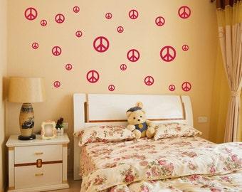 Wall Vinyl Decals Peace Signs Wall Art Wall Sticker Teens Children Nursery Playroom Interior Wall Vinyl Decor Sunshine Decals