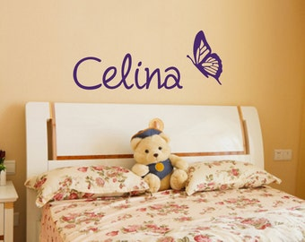 Butterfly Wall Decal with Custom Name
