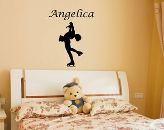 Wall Decal Figure Skater with Custom Name