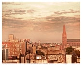 New York City Photo - Brooklyn Rose- - New York - Skyline- Rooftops - Sunset - Evening - Pink - Gold