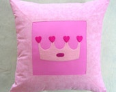 Pink Princess Decorative Pillow Cover/ OOAK Handmade/ Made To Order
