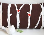 """Birch Trees with Cardinals Pillow Cover/ Dark Brown Suede/ 12""""x20""""/ Handmade/Made To Order/ OOAK"""