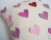 Heart Pillow Cushion Cover/ Organic Cotton Canvas/ Wool Heats In Purple Pink & Red/ Valentine's  Day Gift Idea/ Made To Order