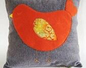 "Orange Sleeping Birdie  Pillow Cover/ 16""x16""/ Made To Order"