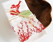 Organic Linen  Tea Towel / Hand Printed Red Bird with Red Flowers/Ready To Ship/ Christmas Gift Idea