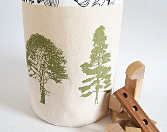 Large Organic Cotton Canvas Box Bin Organizer Storage Basket /Hand Printed Tree Forest/ Made To Order