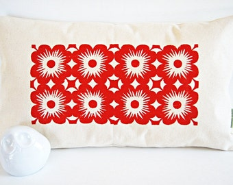 Vintage Tiles in Red/ Organic Cotton Canvas Pillow Cover/ Long Form 12x20/ Made To Order
