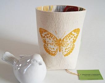 Organic Cotton Canvas Box Bin Organizer Storage Basket/ Handprinted Yellow Butterfly/ / Made To Order