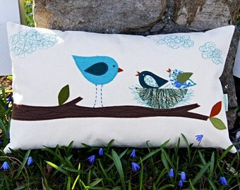 """Mommy Bird with her Little Ones/ Organic Cotton Canvas Pillow Cover/Mother's Day Gift Idea/ 12""""x20/ Made To Order"""