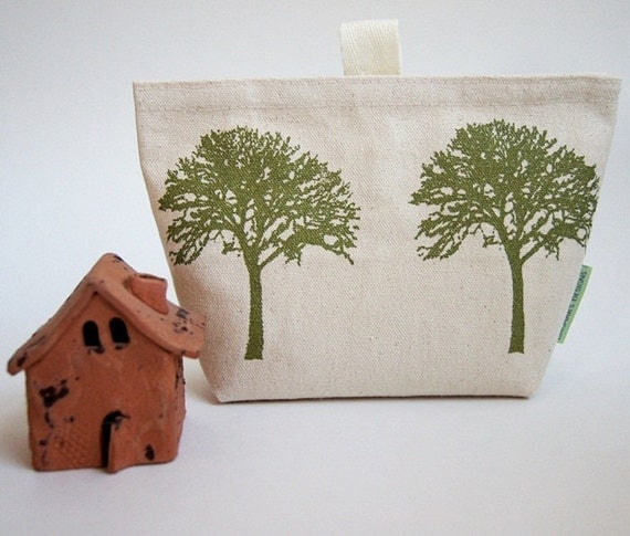 Tree of Life Organic Cotton Canvas Make Up Pouch/ Hand Printed in Green/ Made to Order