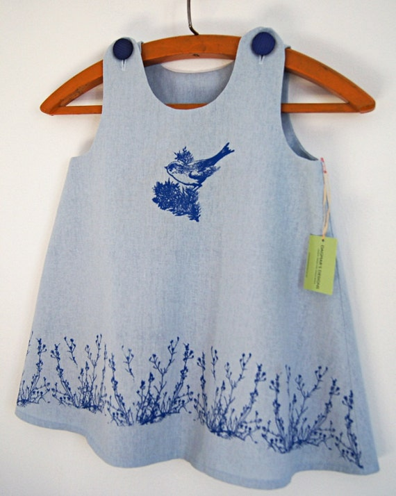 Organic Linen Cotton Light Blue Girls Dress/ Bird&Field Flowers Hand Printed in Blue/ Made To Order