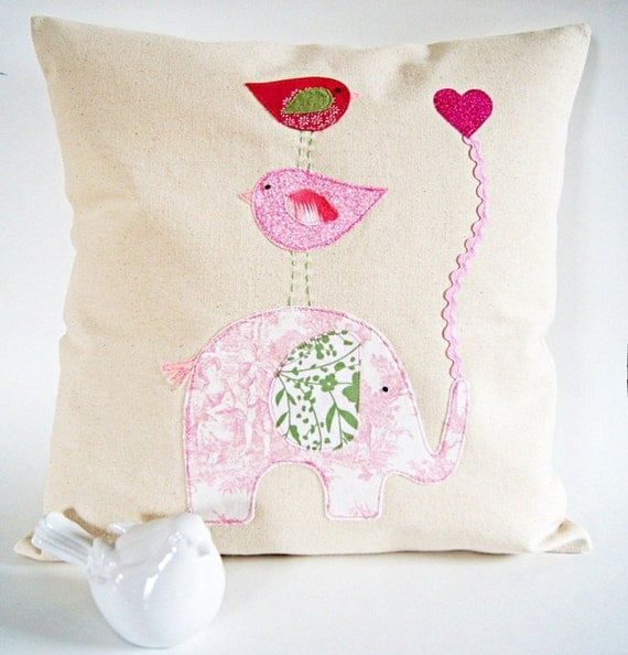 Organic Cotton Canvas/ Good to Have a Strong Friend/ Soft Pink&Green Children's Pillow Cover/ Made to Order