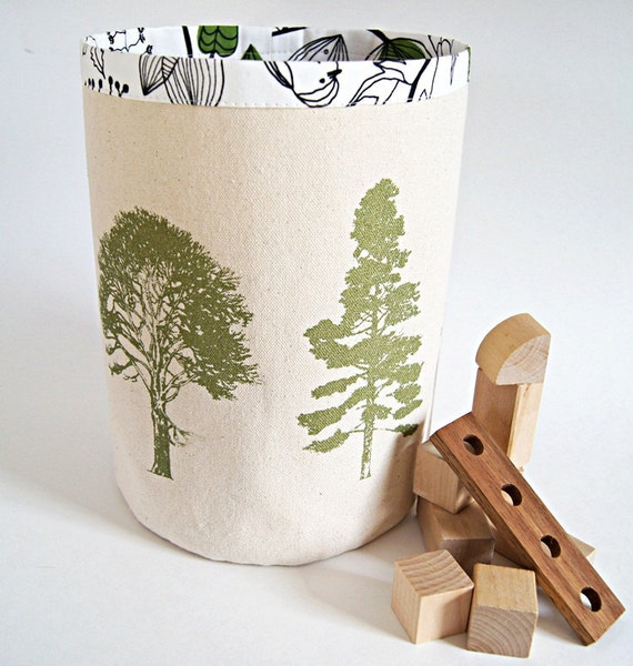 Large Organic Cotton Canvas Box Bin Organizer Storage Basket /Hand Printed Tree Forest/ Made To Order