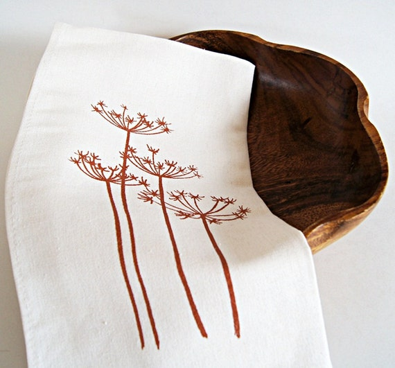 Queen Anne's Lace/ Organic Cotton Linen Tea Towel Handprinted / Handmade / Made To Order