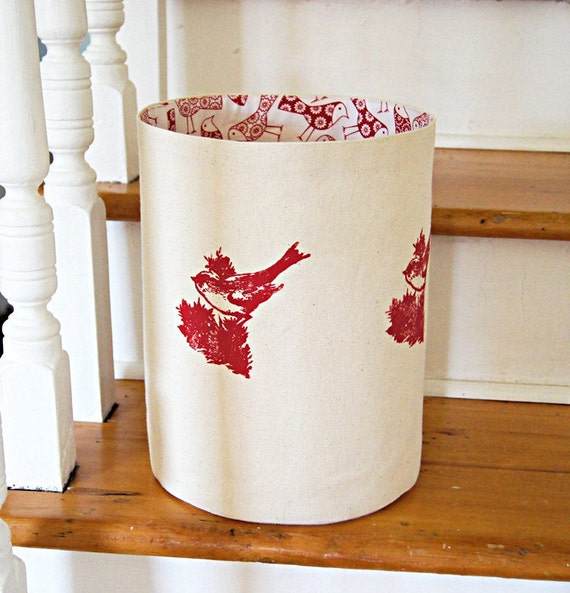 Large Organic Cotton Canvas Storage Basket with birds print Lining /Hand Printed Bird/ Made To Order