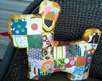Vintage Patchwork Scottie Dog Pillow - Large