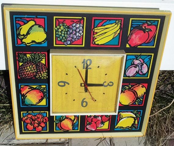 SALE Marked 20% Off - Vintage Pop Art Fruit Clock - GE Electric Kitchen Clock