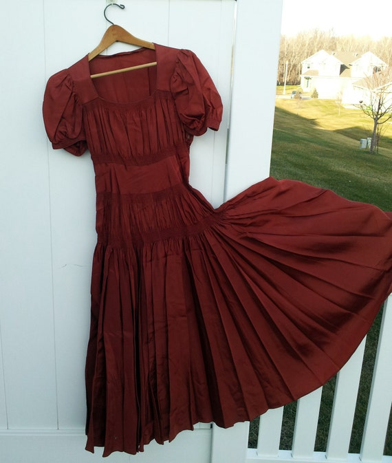 RESERVED - Antique Smocked Satin Dress for Display or Home Decor