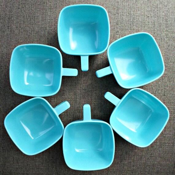 Vintage Aqua Melmac Cups - Brookpark Set of Four