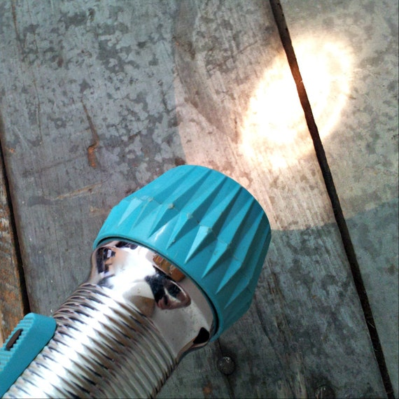 Vintage Eveready Flashlight - Union Carbide - Aqua and Chrome