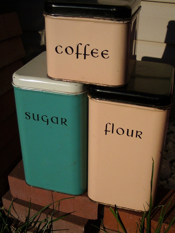 sale marked 50 off vintage tin canisters flour sugar coffee. Black Bedroom Furniture Sets. Home Design Ideas
