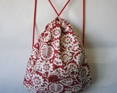 Backpack Red & White Patterned