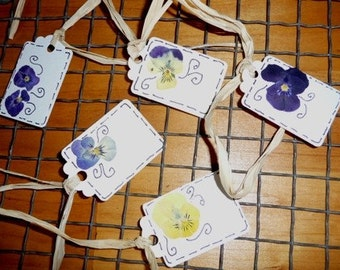 Tags Lot 101 Real Violets from my Garden -  5 Gift Tags or Tie to Napkins for Name cards, Great for a Tea party