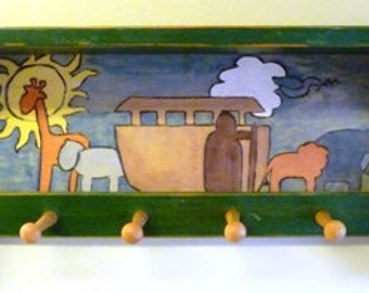 Beautiful Wood Shelf with Noah and the Ark with Wood-burned and Painted Details