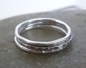 silver stacking rings - set of three - skinny 16 gauge fine silver - texture and finish options