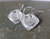 Reserved for Cathy - Small Layered Silver Earrings - Circle on Square - HammeredTextured
