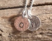 Initial Necklace - Thick 8.9mm Charms - Sterling Silver - DOUBLE 8.9