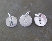 Add On Charm - One Silver Disc - Charm Only - Initial - 8mm, 8.9mm, 9.5mm, 6x12mm oval - Disc Finish Options - Smooth or Hammered
