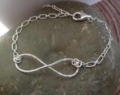 Silver Infinity Bracelet - Large Fine Silver Symbol - Sterling Silver Chain