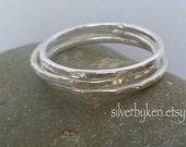 Silver Stacking Rings -  Set of 3 THREE Single Fused Fine Silver Hammered 16 gauge - SKINNY Rings - stack stacker stackable