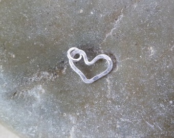 Add a Charm - Small Fused Fine Silver Hammered Open Floating Heart Pendant