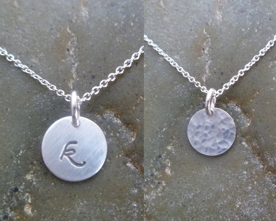 Double Sided Initial Disc Necklace - 8.9mm Argentium Silver