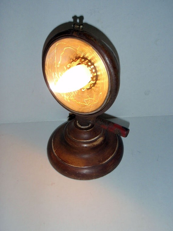 Vintage headlight desk lamp with all new electrical components repurposed upcycled