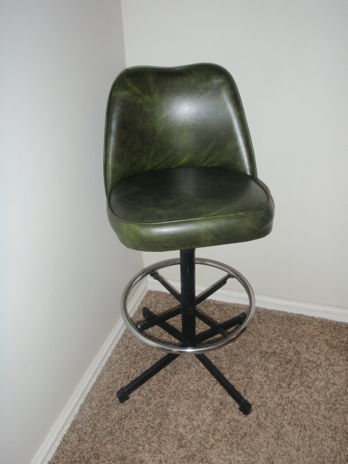 1970s Avocado Green Vintage Vinyl Bar Stool