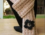 Khaki Tan Knit Scarf in Merino Wool Blend Yarn, with Black Crochet Flowers
