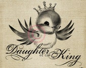 Christian Daughter of the King Vintage Bluebird LARGE Digital Image Download Sheet Transfer To Totes Pillows Tea Towels T-Shirts