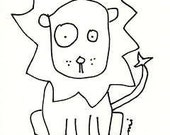 Original Art LION India Ink Drawing ACEO