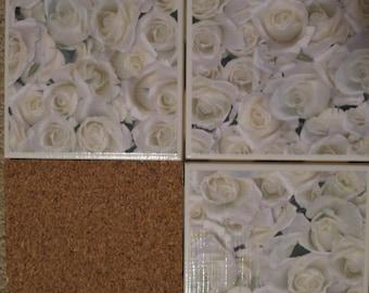 Set of 4-Tile Coasters Wedding White Roses Floral