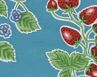 Strawberries on Sky Blue Oilcloth-1 Yd