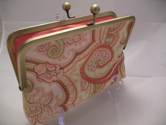 Dupioni Silk Lined Metal Frame Clutch Coral Paisley