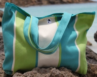 SALE Turquoise, Lime & White Striped Beach Bag/Tote