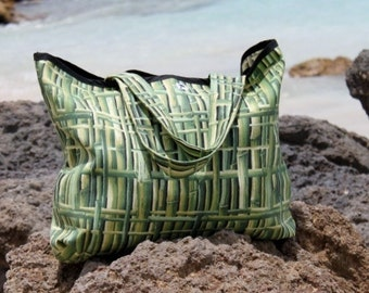 SALE Green Bamboo Patterned Beach Bag/Tote