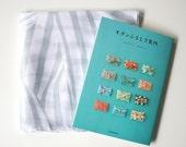 Grey Stripe Furoshiki & Guide to Modern Furoshiki Book Set