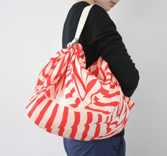 Stripe Furoshiki Red & White Leather Carry Strap for  Bag Set