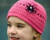 Pink Hat with a Blue Ribbon flower bow and rhinestone, Made To Order