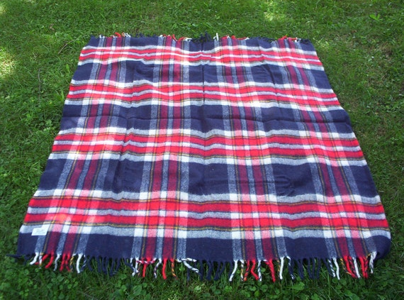 Vintage Faribo Throw/Blanket, Plaid Americana, Treasury Item